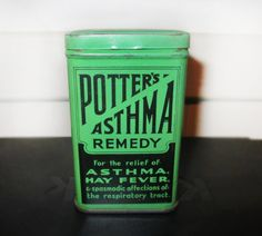 """""""Potter's Asthma Remedy tin""""  This package design fits the true or false theme by promoting a remedy for asthma in a tin."""