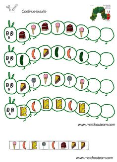 algorithm la chenille qui fait des trous fiche à imprimer Hungry Caterpillar Activities, Very Hungry Caterpillar, Eric Carle, Chenille Affamée, Hand Crafts For Kids, Butterfly Life Cycle, Preschool Math, Maths, Book Activities