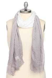 Grey And White Ombre Scarf  Grey to white ombre shading colors a soft scarf with casual unfinished hems. The perfect ultra-lightweight accessory to finish your warm weather look