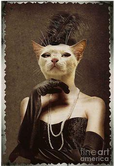 Royal digital art - royal retro kitty human body animal head portrait by jolanta meskauskiene Royal Animals, Animals And Pets, Cute Animals, Cat Character, Cat People, Animal Heads, Dog Portraits, Animal Paintings, Cool Cats