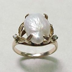 Baroque pearl rings | Vintage Natural Baroque Pearl Ring 10k Yellow Gold from arnoldjewelers ...