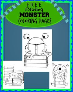 FREE Reading Monsters with Books Coloring Pages for Kids - super cute!