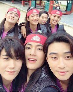 Kim taehyung and the 'hwarang' boys Bts Taehyung, Namjoon, Suga Suga, Bts Suga, V Bts Hwarang, Hwarang Drama, V Hwarang, Beatles, W Kdrama