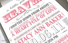 Pink and Grey Baby Shower Invitation,