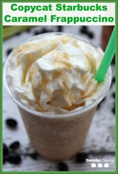 Check out this Copycat Starbucks Caramel Frappuccino Recipe. So easy to make and so much cheaper then Starbucks.