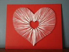 Red heart string on wood with nails DIY project artsy crafts pretty mothers a day birthday gift present mom