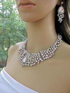 Crystal Rhinestone Bib Necklace Jeweled Bridal Wedding by ctroum