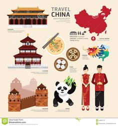 China Flat Icons Design Travel Concept.Vector Stock Vector - Image: 44629713