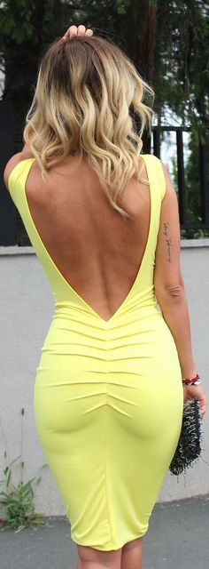 Zorannah Yellow Flirty Bodycon Open Back Midi Dress.now what does a busty girl wear for a bra with this. Tight Dresses, Sexy Dresses, Beautiful Dresses, Backless Dresses, Sexy Outfits, Cute Outfits, Dress Skirt, Bodycon Dress, Ruched Dress