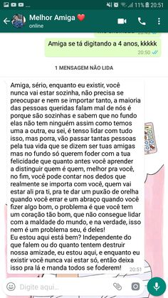 ❤ amizades Frases Ok, Birthday Text, Love Text, Love Phrases, Best Friends Forever, Texts, Inspirational Quotes, Mood, Thoughts