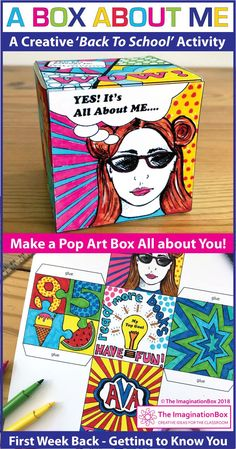 This 'All About Me Pop Art Box' is a fun Back to School art activity for the classroom. grade teachers, use this resource as a first week back getting to know you lesson, encouraging team building and learning. The finished boxes, task c 1st Day Of School, High School Art, Middle School Art, Beginning Of School, School Fun, Back To School Art Activity, Back To School Activities, Back To School Crafts, First Day Activities