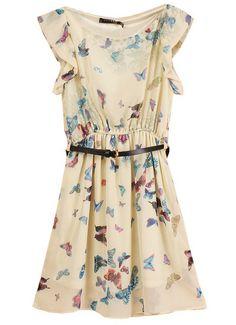 Butterfly Print Belted Chiffon Dress