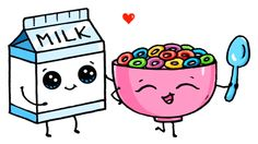 Milk and Cereal love you Kawaii Cute Food Drawings, Cute Kawaii Drawings, Cute Animal Drawings, 365 Kawaii, Kawaii Art, Kawaii Doodles, Cute Doodles, Disney Drawings, Cartoon Drawings
