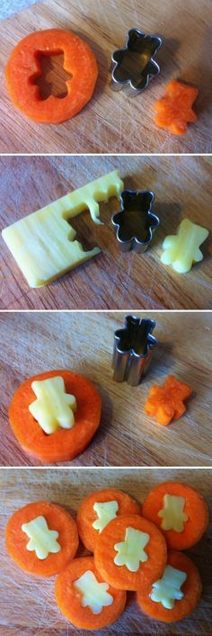 "Cheese & Carrot ""Coins"" made with mini cookie cutters. Great for snacks and lunchboxes. Also use for cucumbers, watermelon, cantaloupe, toast, or whatever taste combo's your children like. Ask them what would taste good together and then get creative. This is a great way to get kids interested in eating more fruits and veg's, especially when they are ""playing with food"" while making it themselves."