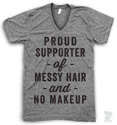 Messy Hair No Makeup V Neck