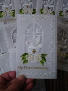 Primera comunión Vale Handmade Greeting Card Designs, First Communion Invitations, Parchment Cards, Christian Cards, First Holy Communion, Paper Cards, Hobbies And Crafts, Scrapbook Cards, Homemade Cards