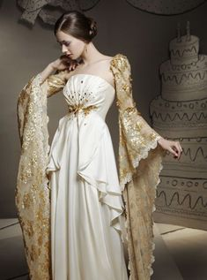 Check these sleeves. Definitely fit for a princess on a white-veil occasion. Beautiful Gowns, Beautiful Outfits, Fantasy Dress, Fantasy Outfits, Mode Inspiration, Formal Dresses, Wedding Dresses, Lace Wedding, Mini Dresses