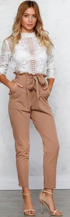 #fall #work #outfits | White Lace Top + Camel Chelsea Pants