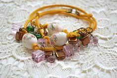 Charm bracelet Bohemian jewelry Bead leather bracelet jewelry for women Friendship gift Floral bracelet girl Birthday gift girlfriend Boho Sister gift Charms jewelry Summer jewelry beach bracelets