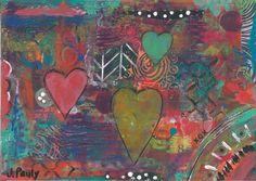 abstract art, heart art, coordinating, heart love, love art, love hearts, abstract hearts, hearts abstract, three hearts, three heart art - pinned by pin4etsy.com