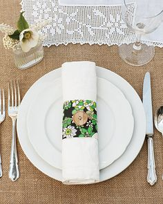 "See the ""Napkin Rings"" in our A Whimsical Green Outdoor Destination Wedding in Savannah, Georgia gallery Plan My Wedding, Destination Wedding, Wedding Ideas, Wedding Stuff, Dream Wedding, August Wedding, Wedding Decorations, Table Decorations, Martha Stewart Weddings"