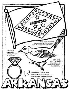 Arkansas coloring page- The crayola website has a ton of coloring pages for all the states, country flags, famous landmarks, seasons, Disney, animals, vehicles, etc.  Really just about anything you could think of.