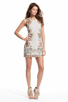 Enjoy an additional 25% off newly added sale styles! Surova Sequin Encrusted Elephant Motif Linen Dress.