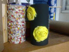 Estojos Confete e Preto com Rosas Amarelas - Toillet Roll Case - Lela Artes Artesanato - lelaartes2014@gmail.com