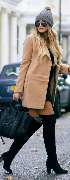 That Pommie Girl Black O T K B L B D Camel Booties Grey Beanie Fall Inspo