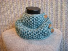 Turquoise Honeycomb Chunky Knitted Cowl via @Etsy