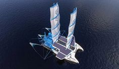 'manta' by seacleaners is a giant sailboat on the attack of oceanic plastic pollution City Clean, Renewable Sources Of Energy, Plastic Pollution, Boat Design, Small Boats, Sailboat, Kayaking, Ocean, February 19