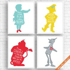 Wizard of Oz Quotes - Set of 4 Art Print (Unframed) (Featured in Aqua, Yellow, Red and Grey) Peter Pan Prints   THIS LISTING IS TO PURCHASE an ART