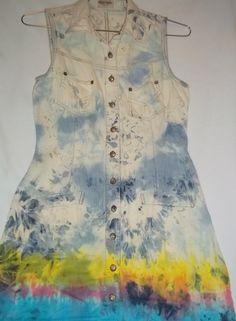 Ombre Tie Dye Destroyed Denim Dress by RedeemedByRed on Etsy,