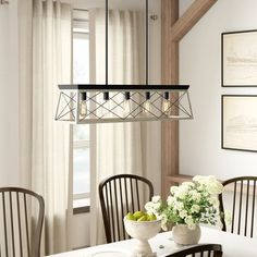 Birch Lane™ Kowalewski 5 - Light Single Linear Pendant & Reviews Cage Light Fixture, Rustic Light Fixtures, Rustic Lighting, Kitchen Lighting, Old Barn Doors, Rectangle Chandelier, Wood Accents, Stores, Hand Blown Glass