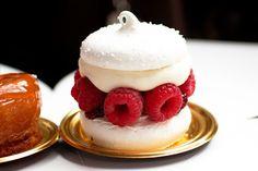 Dessert idea - meringue discs filled with raspberries and cream