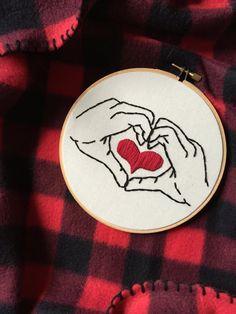 Hoop Art - Heart in Your Hands - Hand Heart - Embroidery Art in 6 Inch Hoop - Fiber Art