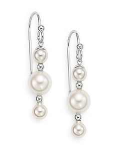 5MM-8MM White Round Pearl & Sterling Silver Linear Drop Earrings