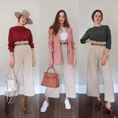 Wide leg pants 3 ways☝🏻 Which way is your favorite? Left to right 2 or Starting this series to show you more ways to style… Square Pants Outfit Casual, Wide Pants Outfit, Casual Work Outfits, Wide Leg Pants, New Outfits, Trendy Outfits, Cool Outfits, Fashion Pants, Women's Fashion Dresses