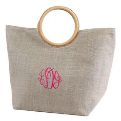 Monogram Gray Jute Tote with Round Handles / Monogram Tote/Beach Bag/monogram overnight bag/Purse/tote/handbag by sewsassybootique on Etsy Monogram Tote, Jute Bags, Beach Tote Bags, Large Tote, Tote Handbags, Straw Bag, Purses And Bags, Reusable Tote Bags, Gold Coast