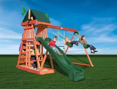 It will be no tough task to pull the kids away from the television and video games when they have the Gorilla Journey Playset waiting for them in the. Playground Slide, Backyard Playground, Wood Playground, Playground Ideas, Cubby Houses, Play Houses, Backyard Toys, Backyard Ideas, Outdoor Ideas