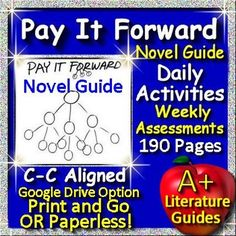 Free up your time with Pay It Forward, a complete 190 page Common-Core aligned Novel Guide for the Young Readers Edition by Catherine Ryan Hyde. It can be used with or without Google Drive (Paperless OR Print and Go) This literature guide has everything you need to teach and assess the novel.