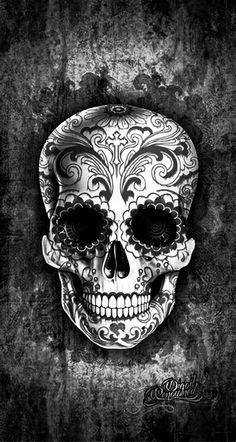 Tatto Skull, Sugar Skull Tattoos, Sugar Skull Art, Sugar Skulls, Mexican Skull Tattoos, Caveira Mexicana Tattoo, Tattoo Caveira, Calaveras Mexicanas Tattoo, Sugar Skull Wallpaper