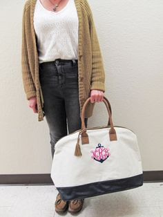 Gorgeous Anchor Monogrammed Canvas Weekender Bag - Monogrammed Canvas Travel Bag by PremiereEmbroidery on Etsy https://www.etsy.com/listing/207875159/gorgeous-anchor-monogrammed-canvas