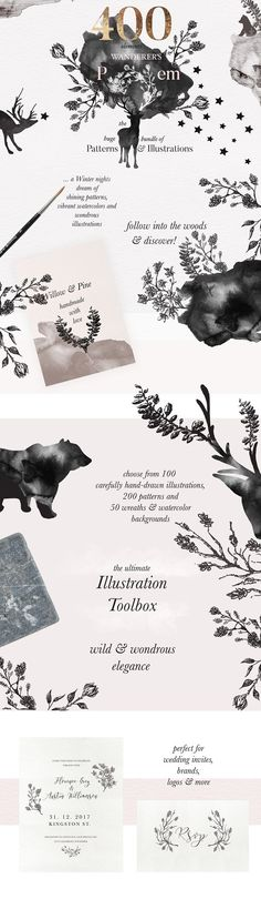 Golden Winter Patterns Bundle  by Laras Wonderland on @creativemarket
