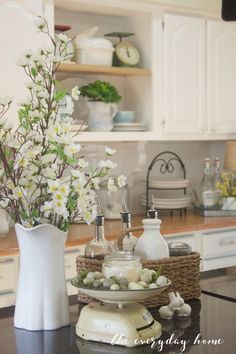 Spring Farmhouse Kitchen Tour | The Everyday Home | http://www.everydayhomeblog.com Check out the scale!!!