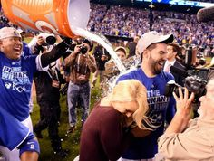 Hos getting victory ice bath from Salvy #takethecrown Royals/Mets going to the World Series