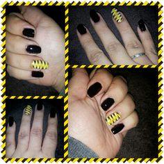 Black & yellow nail design