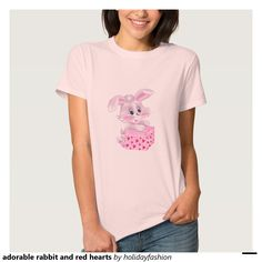adorable rabbit and red hearts shirt