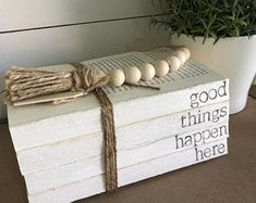 Good Things Happen Here Stamped Book Stack // Farmhouse Home Decor // Stacked Books // Custom Books // Shabby Chic Decor Farmhouse Books, Farmhouse Decor, Farmhouse Style, Farmhouse Signs, Book Wrap, Old Book Crafts, Painted Books, Wooden Books, Realtor Gifts