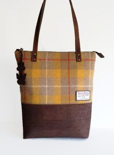 Harris Tweed Bag Cork Bag Yellow Shoulder Bag by MyCottonHouse